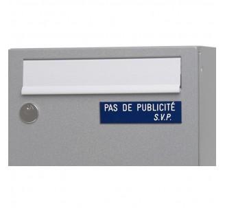 """Plaque """" PAS DE PUBLICITE - SVP """" - Fond bleu, texte gravé blanc"""