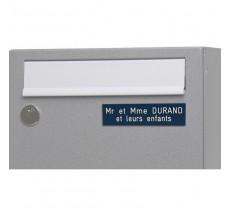 Plaque boîte aux lettres, fond bleu texte gravé blanc