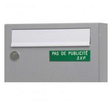 """Plaque """" PAS DE PUBLICITE - SVP """" - Fond vert, texte gravé blanc"""