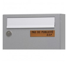 """Plaque """" PAS DE PUBLICITE - SVP """" - Fond or, texte gravé noir"""