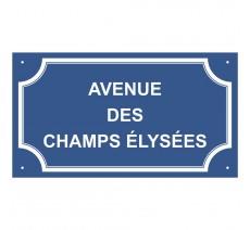 """Plaque de rue en alu """" Avenue des Champs Elysées """""""