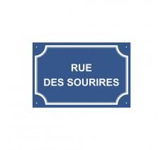 """Plaque de rue humoristique en alu """" Rue des Sourires"""""""