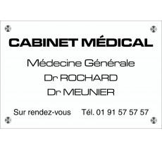 Plaque professionnelle gravée en plexi blanc, texte noir