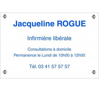Plaque professionnelle gravée en plexi incolore, texte bleu