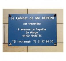 Plaque de transfert provisoire, fond bleu, texte gravé blanc