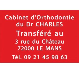 Plaque de transfert provisoire, fond rouge, texte gravé blanc