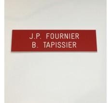 Plaque boîte aux lettres, fond rouge texte gravé blanc
