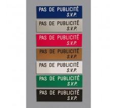 """Plaque """" PAS DE PUBLICITE - SVP """" - Fond beige, texte gravé noir"""