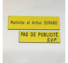 """Plaque """" PAS DE PUBLICITE - SVP """" - Fond jaune, texte gravé noir"""